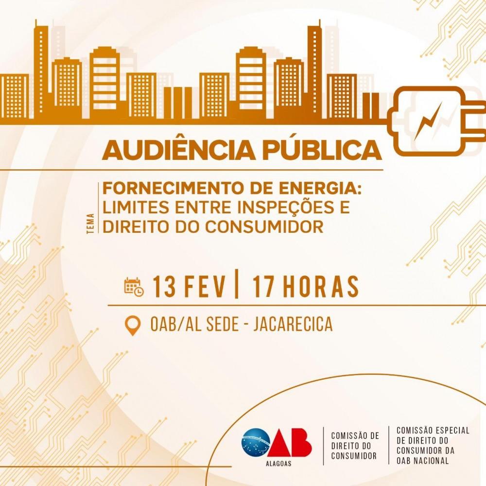 OAB-AL realiza audiência pública para debater queixas relacionadas ao fornecimento de energia elétrica