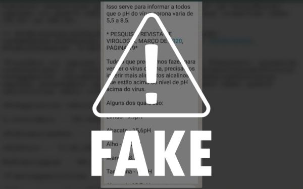 MAIS UMA #FAKENEWS – Mensagem afirmando que alimentos alcalinos curariam o coronavírus é falsa