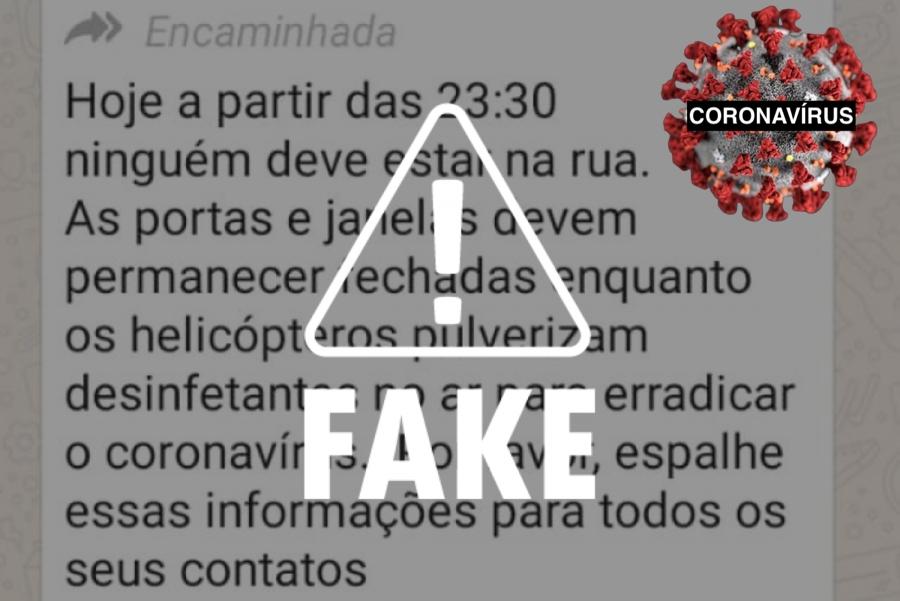 CONTEÚDO CHECADO: Mensagem sobre helicóptero pulverizando desinfetantes é falsa
