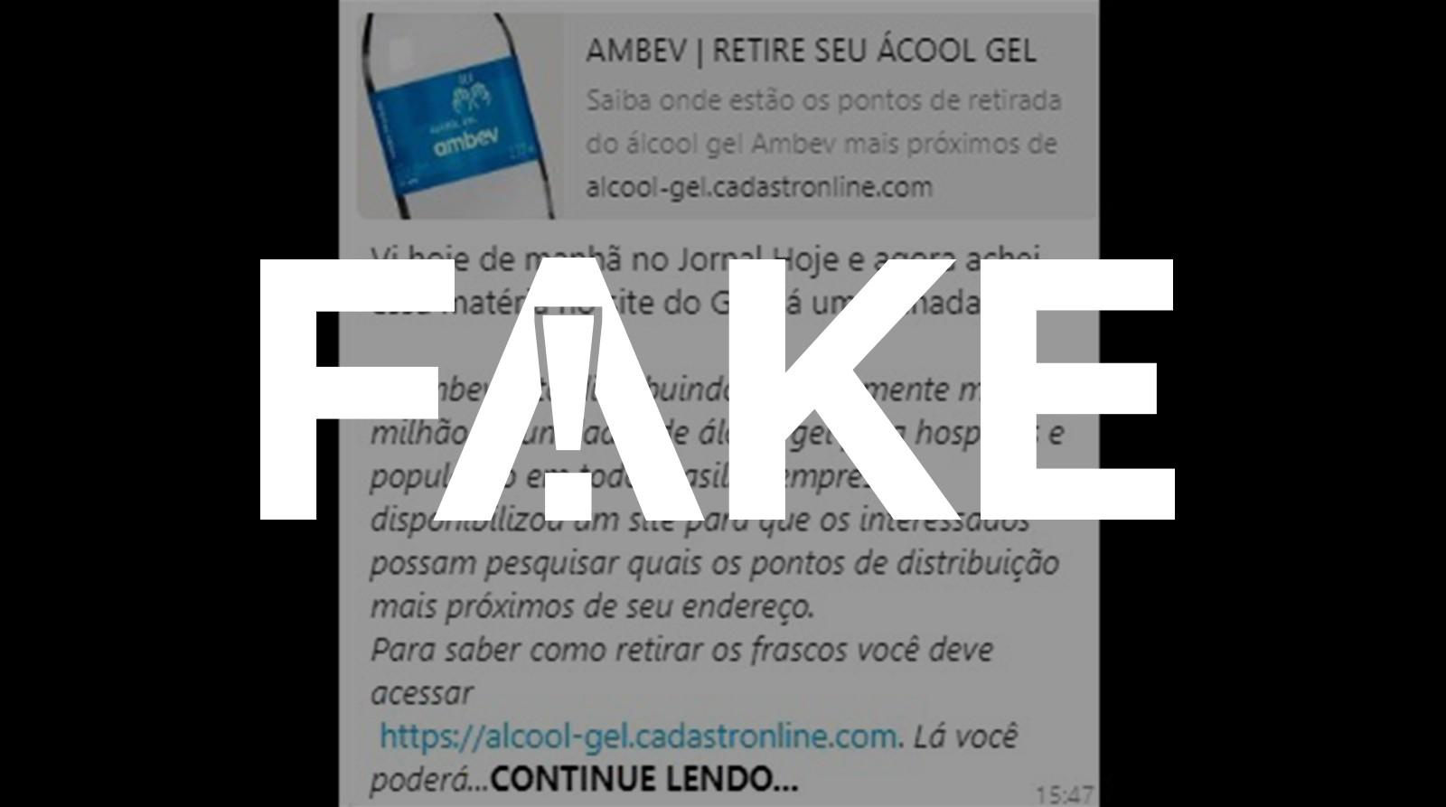 GOLPE! – Site e mensagem de whatsapp informando distribuição de álcool gel é fake