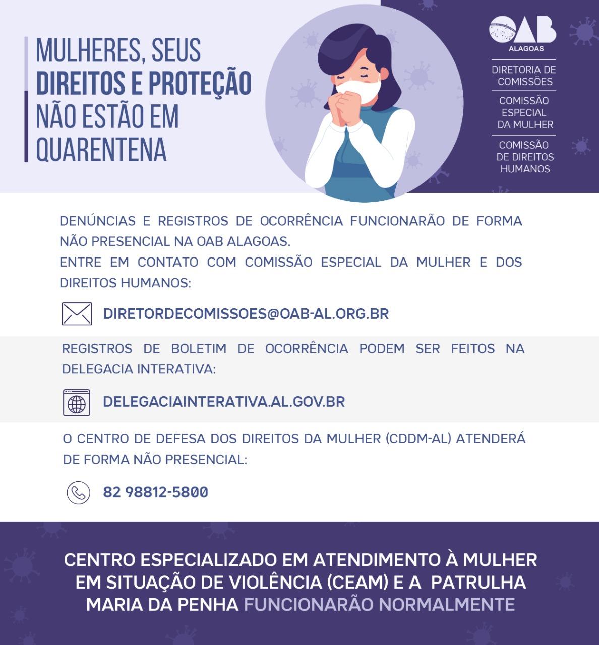 COVID-19: Órgãos de defesa da mulher continuam ativos para registrar denúncias por ferramentas não-presenciais