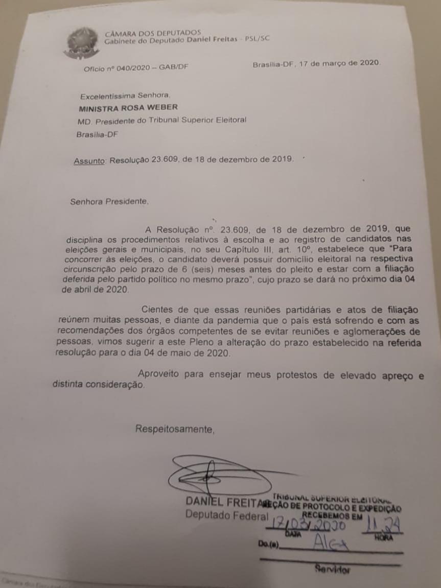 ELEIÇÕES – Deputado Daniel Freitas sugere ao TSE prorrogação do prazo de filiação partidária